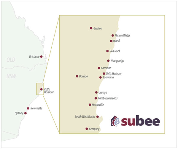 Subee service areas NSW - Grafton, Minnie Water, Wooli, Red Rock, Woolgoolga, Coffs Harbour, Coramba, Toormina, Dorrigo, Urunga, Nambucca Heads, Macksville, South West Rocks, Kempsey